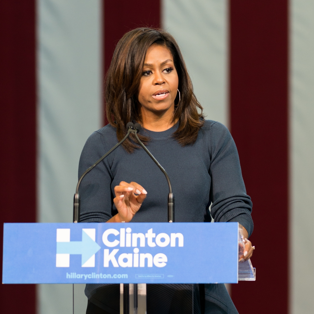 First Lady Michelle Obama seen campaigning for Hillary...