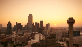 USA, Texas, Aerial photograph of the Dallas skyline at sunrise
