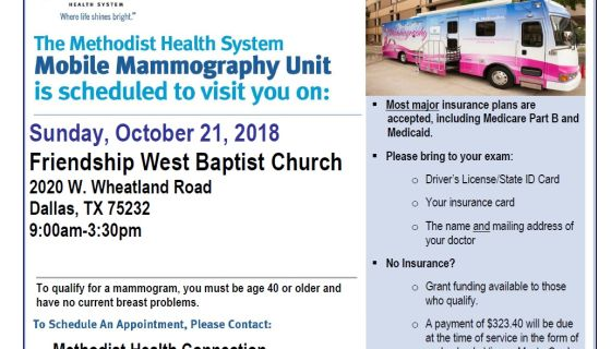 Do You Need A Mammogram? Come To Friendship West October