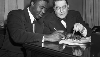 Jackie Robinson Signing Contract with Branch Rickey