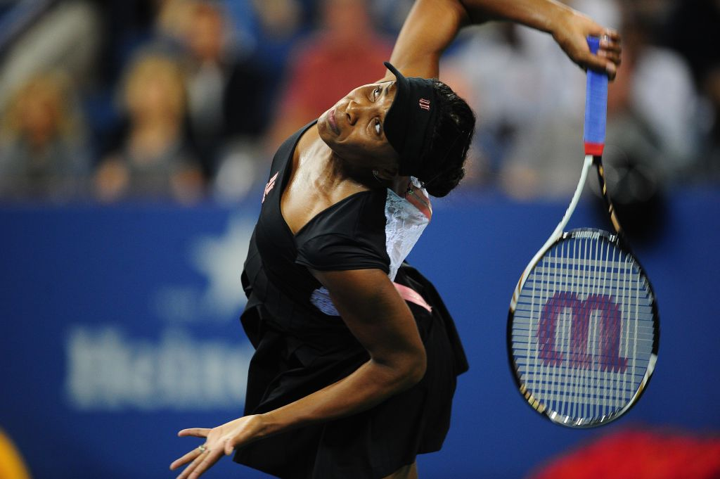 US tennis player Venus Williams serves a