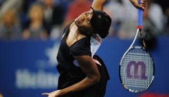 US tennis player Venus Williams serves a