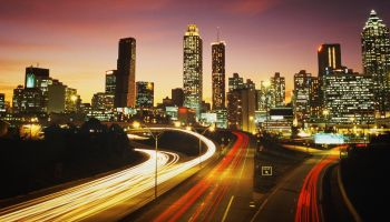 Downtown Atlanta at sunset with highway