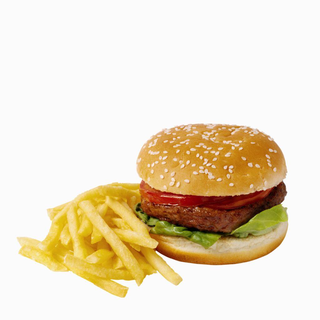 Close-up of hamburger and french-fries