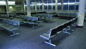 An empty airport gate.